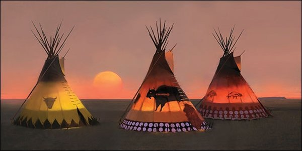 HAND SIGNED - R. TOM GILLEON - INDIAN SUNSET II