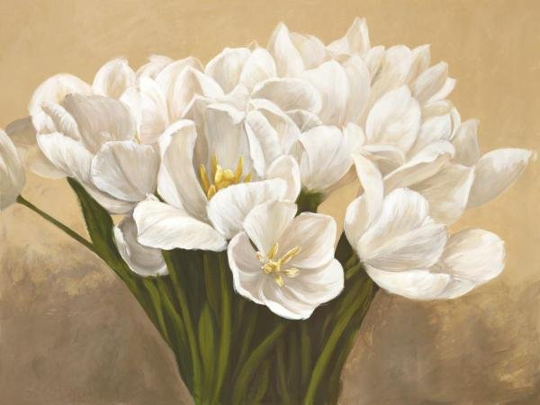 LEONARDO SANNA -TULIPES BLANCHES - GICLÉE ON CANVAS