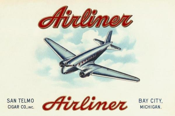 RETROTRAVEL -AIRLINER BRAND CIGARS - GICLÉE ON CANVAS