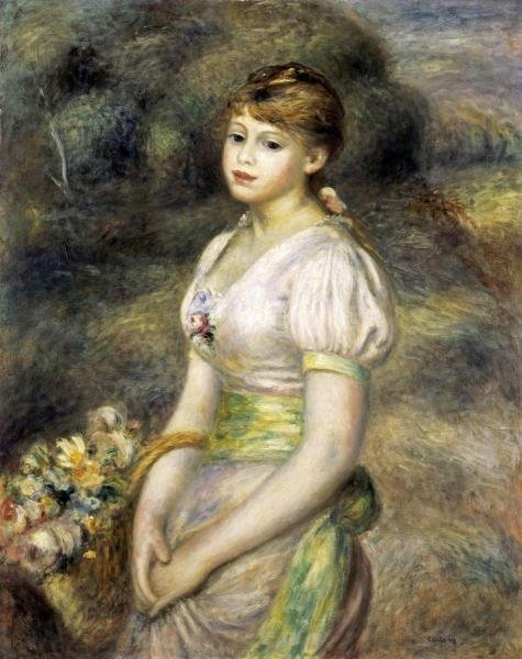 PIERRE AUGUSTE RENOIR  - YOUNG GIRL CARRYING A BASKET
