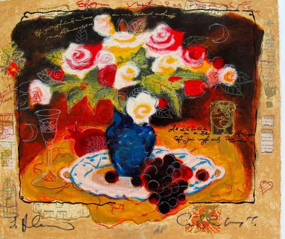 ALEXANDER WISSOTZKY RED GRAPES HAND SIGNED LIMITED ED.