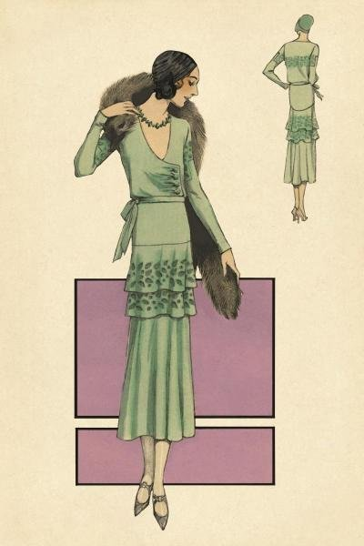 VINTAGE FASHION -MODELES ORIGINAUR: IN GREEN - GICLÉE
