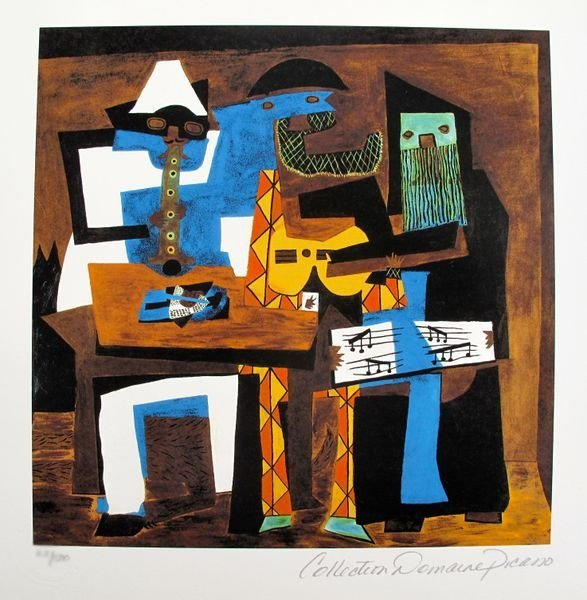 PABLO PICASSO THREE MUSICIANS ESTATE SIGNED LIMITED ED.
