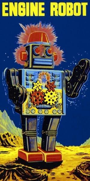RETROBOT  - ENGINE ROBOT  -  GICLÉE ON CANVAS