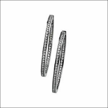 HINGED DIAMOND INSIDE/OUTSIDE HOOP EARRINGS