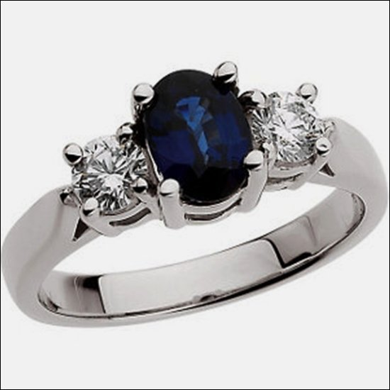 GENUINE SAPPHIRE & DIAMOND RING IN PLATINUM