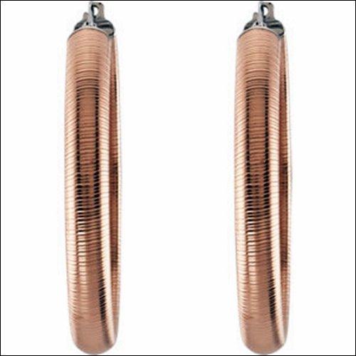 Amalfi Stainless Steel Half Round Textured Hoop