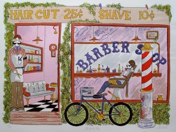 TOM WOOD BARBER SHOP HAND SIGNED LIMITED ED. LITHOGRAPH