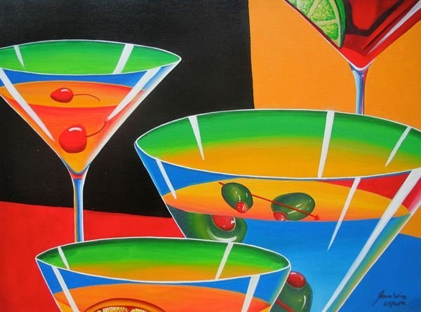 JAMES WING MULTI MARTINI HAND SIGNED LIMITED ED. GICLEE