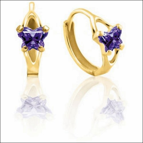 Bfly CZ Birthstone Hinged Earrings