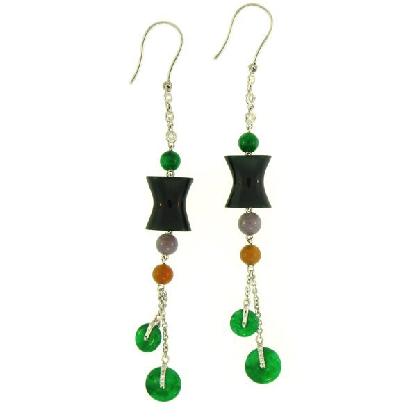 NATURAL GREEN BLACK JADE EARRINGS
