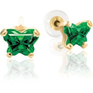 Bfly CZ Birthstone Youth Earrings with Safety or