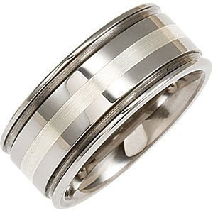 10mm Dura Tungsten Grooved Band with Sterling Silver
