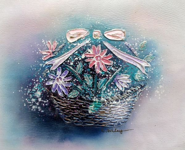 FLOWER BASKET SIGNED ORIGINAL OIL PAINTING ON CANVAS