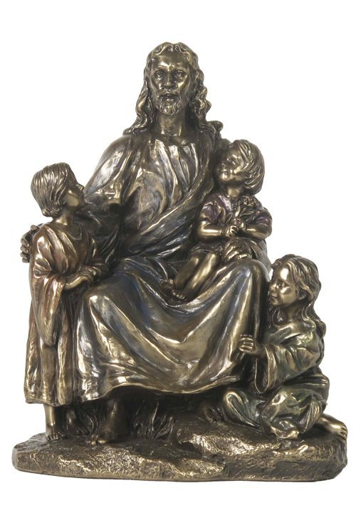 JESUS WITH THREE CHILDREN - BRONZE