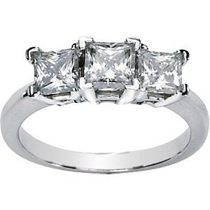Created Moissanite 3-Stone Anniversary Ring