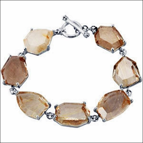 "Genuine Rutilated Quartz 7.5"" Bracelet"