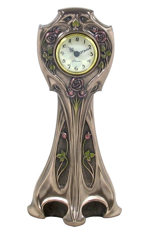 ROSE ART NOUVEAU CLOCK - BRONZE