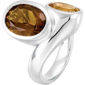 Genuine Honey Quartz & Citrine Ring