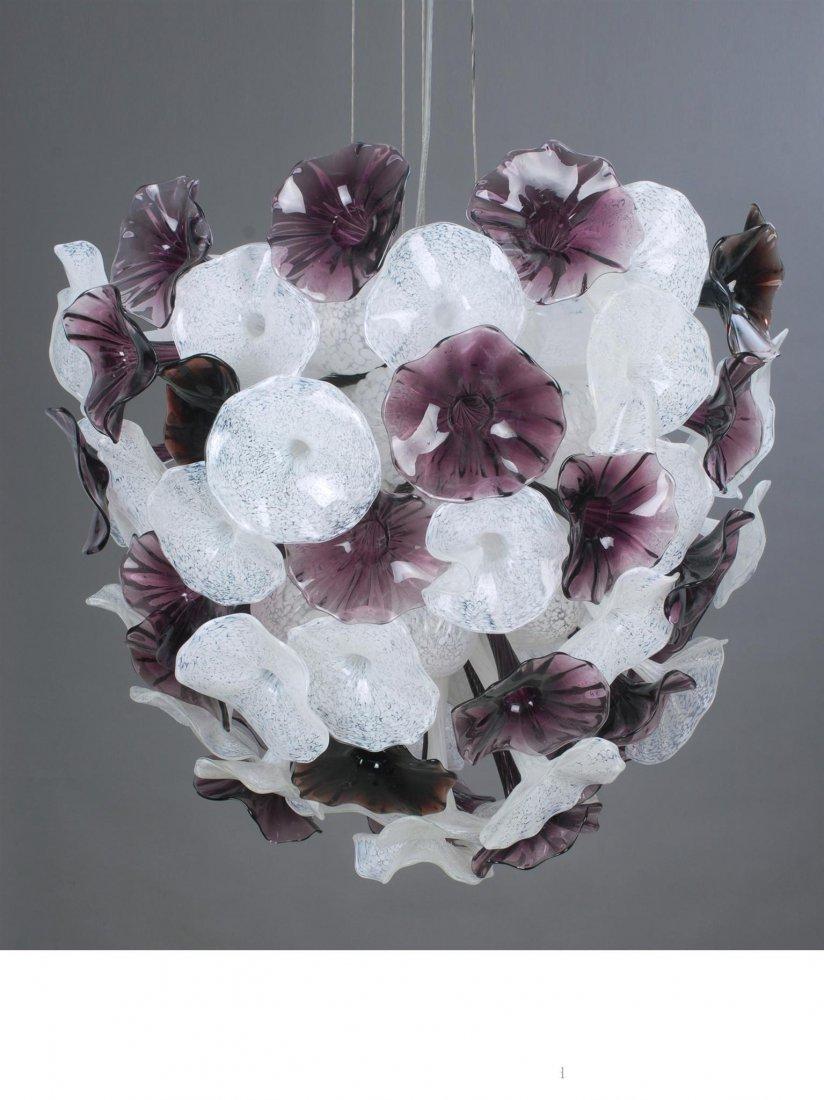 HAND BLOWN ART GLASS - GRANDE PURPLE FROST FIORE