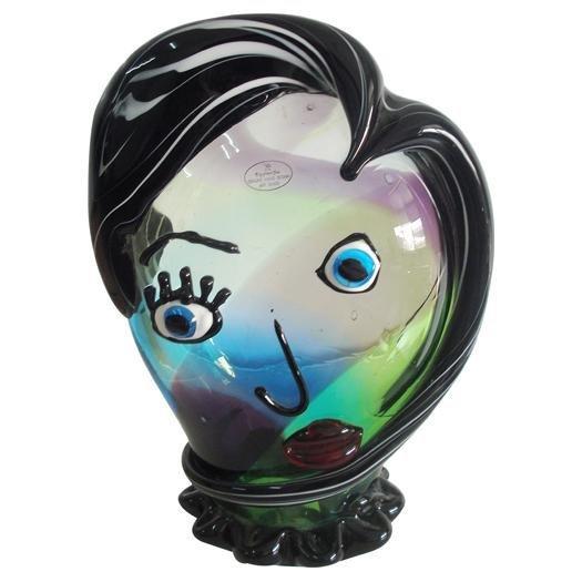 HAND BLOWN ART GLASS - TURQUOISE/PURPLE PIKASSO