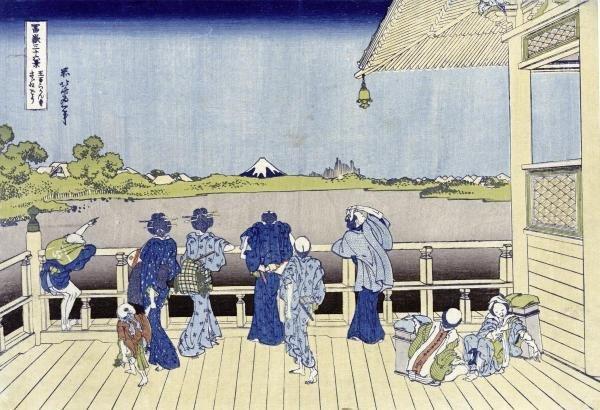 HOKUSAI - SAZAI HALL OF FIVE-HUNDRED-RAKAN TEMPLE
