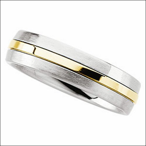 6.3mm Stainless Steel Domed Band with 14k Yellow Inlay