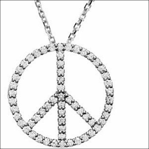"1/3 ct tw Diamond Peace Sign 16"" Necklace"