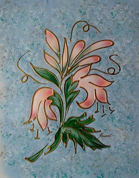 ABSTRACT FLOWER SIGNED ORIGINAL OIL PAINTING ON CANVAS