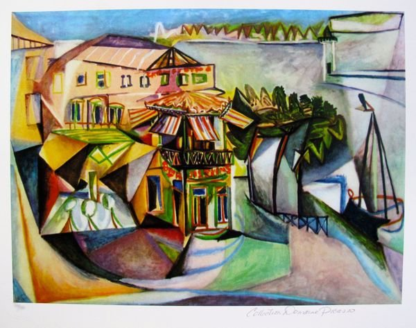 #18 CAFE AT ROYAN PICASSO ESTATE SIGNED GICLÉE