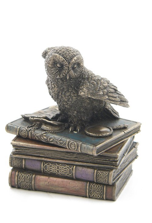 SNOW OWL FLAP WINGS ON BOOKS TRINKET BOX - BRONZE