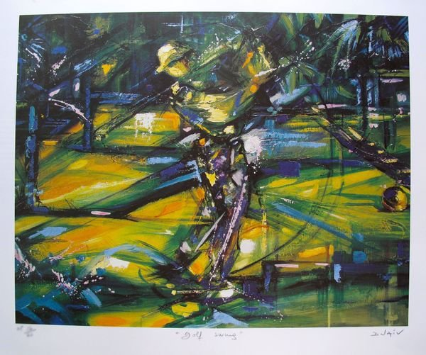 DUAIV GOLF SWING HAND SIGNED LIMITED ED. LITHOGRAPH