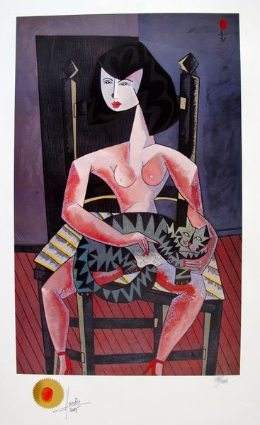 JESUS FUERTES WOMAN WITH CAT LIMITED ED. HAND SIGNED