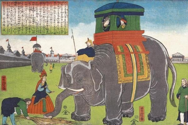 VINTAGE ELEPHANT - ELEPHANT TAKING A LUNCH BREAK
