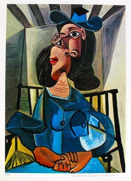 #15 WOMAN WITH A HAT SEATED IN AN ARMCHAIR PICASSO