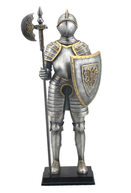 MEDIEVAL ARMOR WITH POLLAXE AND SHIELD