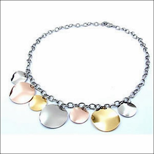 STAINLESS STEEL NECKLACE WITH ROUND DISKS