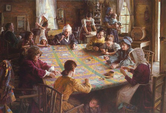 THE QUILTING BEE, 19TH CENTURY AMERICANA - BY MORGAN