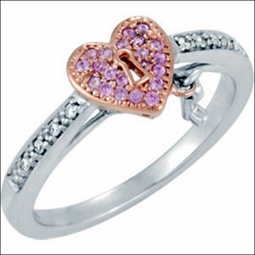 GENUINE PINK SAPPHIRE & DIAMOND HEART RING