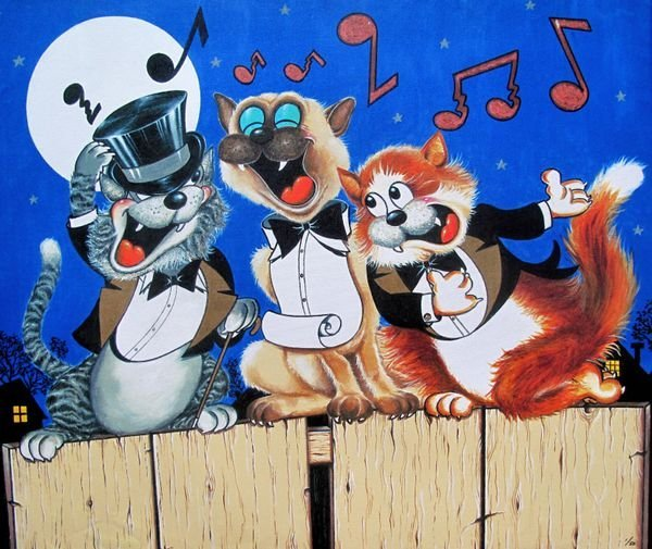 TOP CAT TRIO Limited Ed. Large Giclee on Canvas