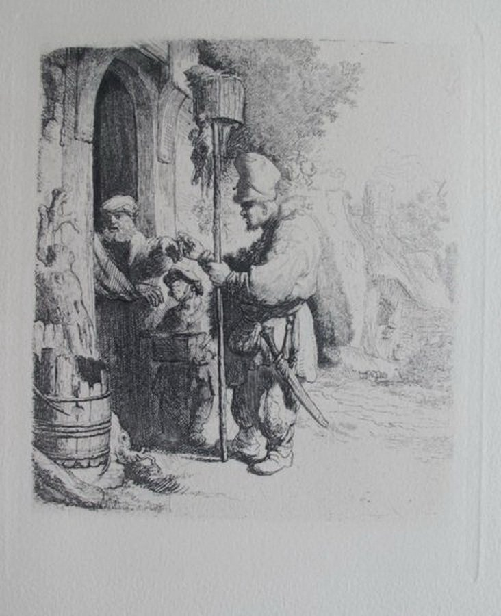 Rembrandt THE RAT POISON PEDDLER Etching