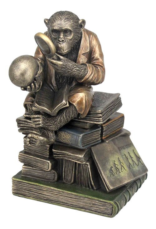 CHIMPANZEE SCHOLAR TRINKET BOX - BRONZE