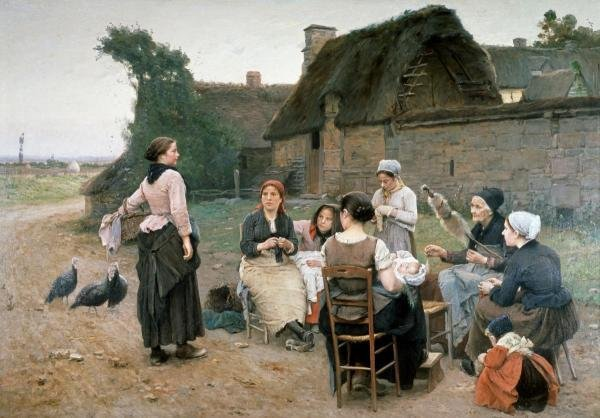 WENCELAS DE BROCZIK - PEASANT WOMEN CHATTING;NORMANDY
