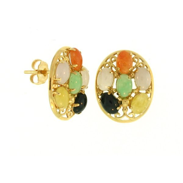 NATURAL MULTI-COLOR JADE EARRINGS
