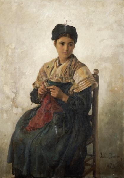 JULES ADOLPHE AIME LOUIS - A GIRL KNITTING