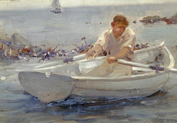 HENRY SCOTT TUKE - MAN IN A ROWING BOAT