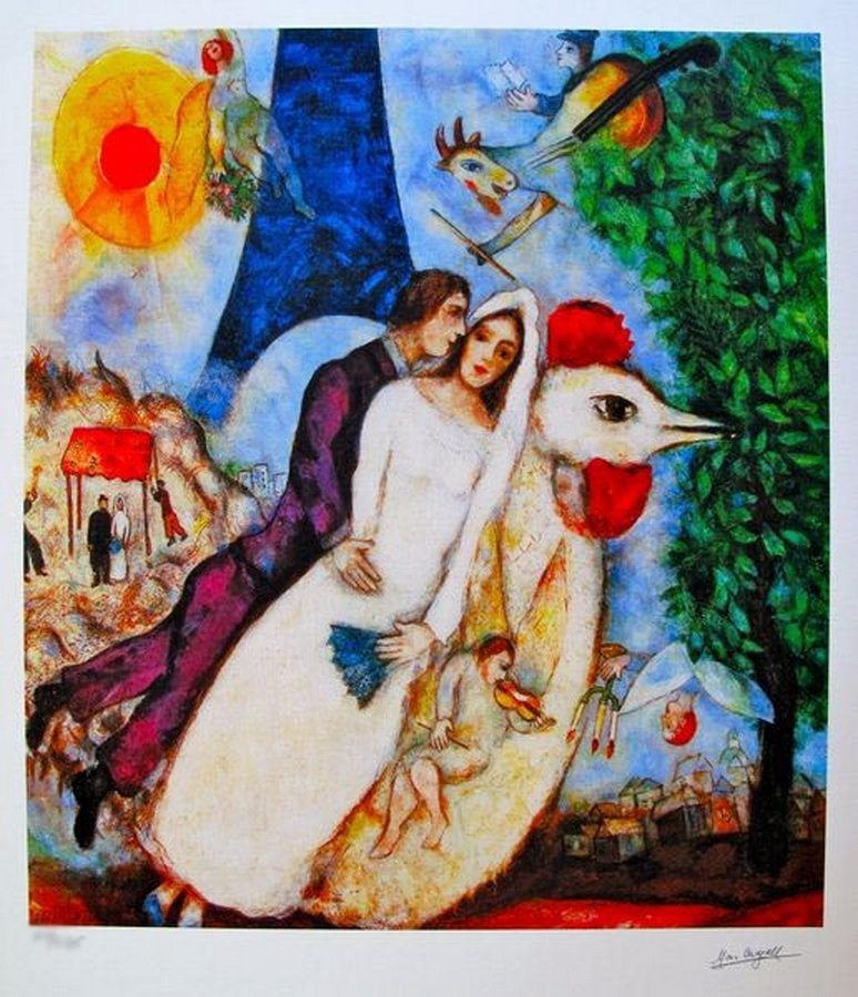 Marc Chagall BRIDE AND GROOM OF THE EIFFEL TOWER