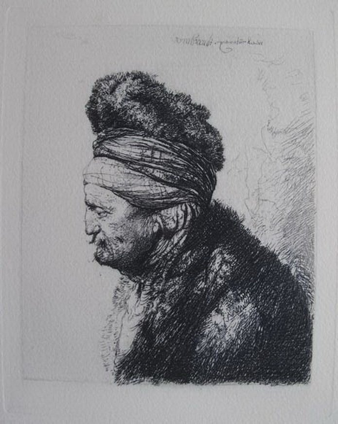 Rembrandt THE SECOND ORIENTAL HEAD Etching