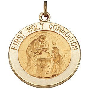 ROUND FIRST HOLY COMMUNION MEDAL