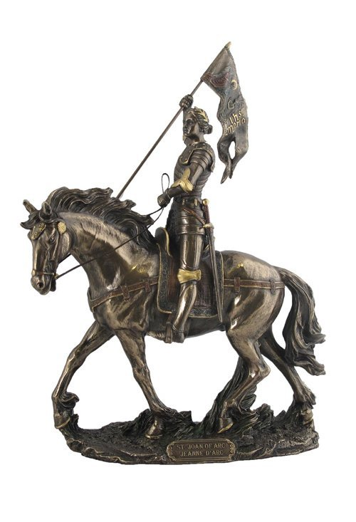 JOAN OF ARC ON HORSE BACK WITH FLAG  - BRONZE